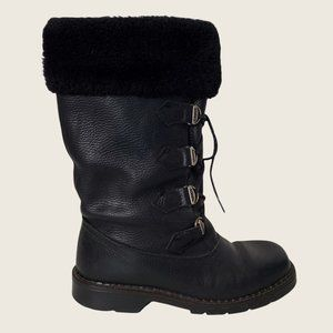 Sorel Black Leather Faux Fur Lined Lace Up Winter Boots
